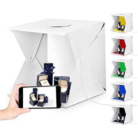 Portable Photo Studio with 3 Backdrops Shooting Tent Box Kit Brightness Adjustable 16x16 Light Box for Jewelry,Toys,Baking,Small Items Photography Black//White//Orange