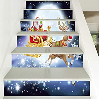 zhiyu&art decor Christmas 3D Stair Decals Stickers-6Pcs/Set Christmas Santa Stair Risers Stickers Removable Staircase Decals Stair Mural Wallpaper for Christmas Decoration