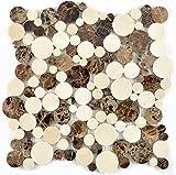Mosaico de baldosas de mármol natural beige marrón...