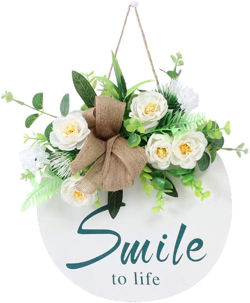yhengg Front Door Wreath Wooden with Direct sale of manufacturer Sign Hanging OFFicial Eucalyp Flower