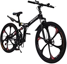 Kiyotoo 26 Inches Folding Mountain Bike, High Carbon Steel Mountain Bikes 21 Speed Bicycle Full Suspension MTB for Men/Women, Lightweight