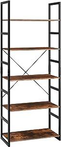 Homfa Standregal Bücherregal mit 5 Etagen Hochregal Aufbewahrungsregal Pflanzenregal Balkonregal Blumrenregal Badregal aus Metall und Holz Vintage Industrial schwarz 158x60x30cm