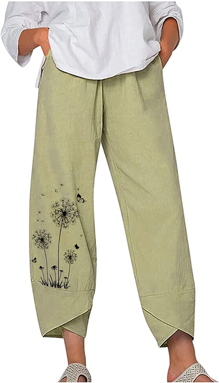 Women's Trousers Casual Fashion Dandelion Print Solid Color Pants