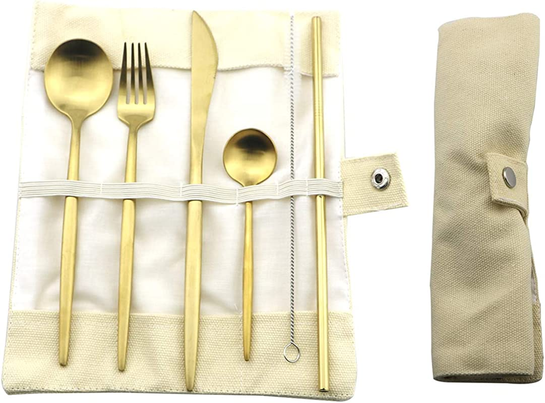 Uniturcky 7 Pieces 18 10 Stainless Steel Flatware Set Gold Travel Silverware With Pouch Knife Fork Spoon Straw Set Reusable Utensil Set With Case For Traveling Picnic Camping Working