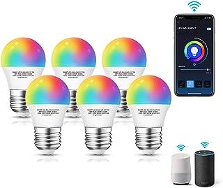 Aigostar Pack 6 uds Bombilla LED inteligente WiFi G45, 5W, E27 rosca gorda, RGB+CCT. Regulable multicolor+luz cálida o blanca 3000 a 6500K, 500lm. Compatible Alexa y Google Home[Clase energética A +]