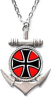 Yijianxhzao Maltese Cross Anchor Necklace,Maltese Cross,Cross Anchor Necklace,Maltese Pendant,Custom Wedding Anchor Necklace,Groom Anchor Necklace,BV051