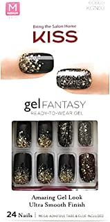 Kiss Gel Fantasy Medium Length Black Nails with Gold Glitters KGN03 Painted Veil