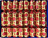 Crackers Ltd Set of 8 Red Poinsettia Gold Christmas Crackers with Magic Tricks -
