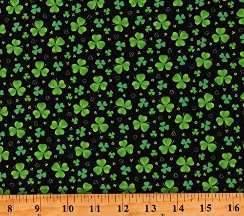 Cotton St Patrick's Day Shamrocks Clovers Irish on Black Cotton Fabric Print by The Yard (D568.83)