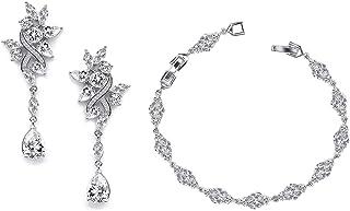 Women Zirconia Dangle Earrings Bracelet Jewelry Set For Brides Birdesmaid Wedding Prom Party