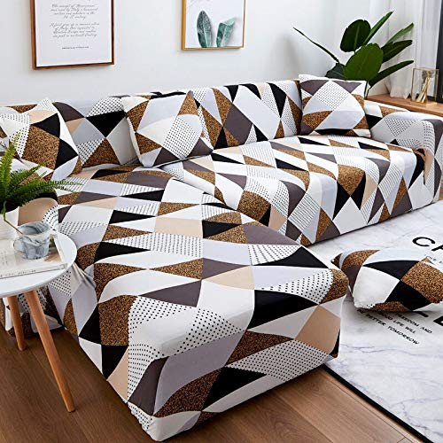 PPOS Geometry Elastic Stretch Sofa Cover Slipcovers All-Inclusive Couch Cover for Different Shape Sofa Chair L-Style D10 3seats 190-230cm-1pc