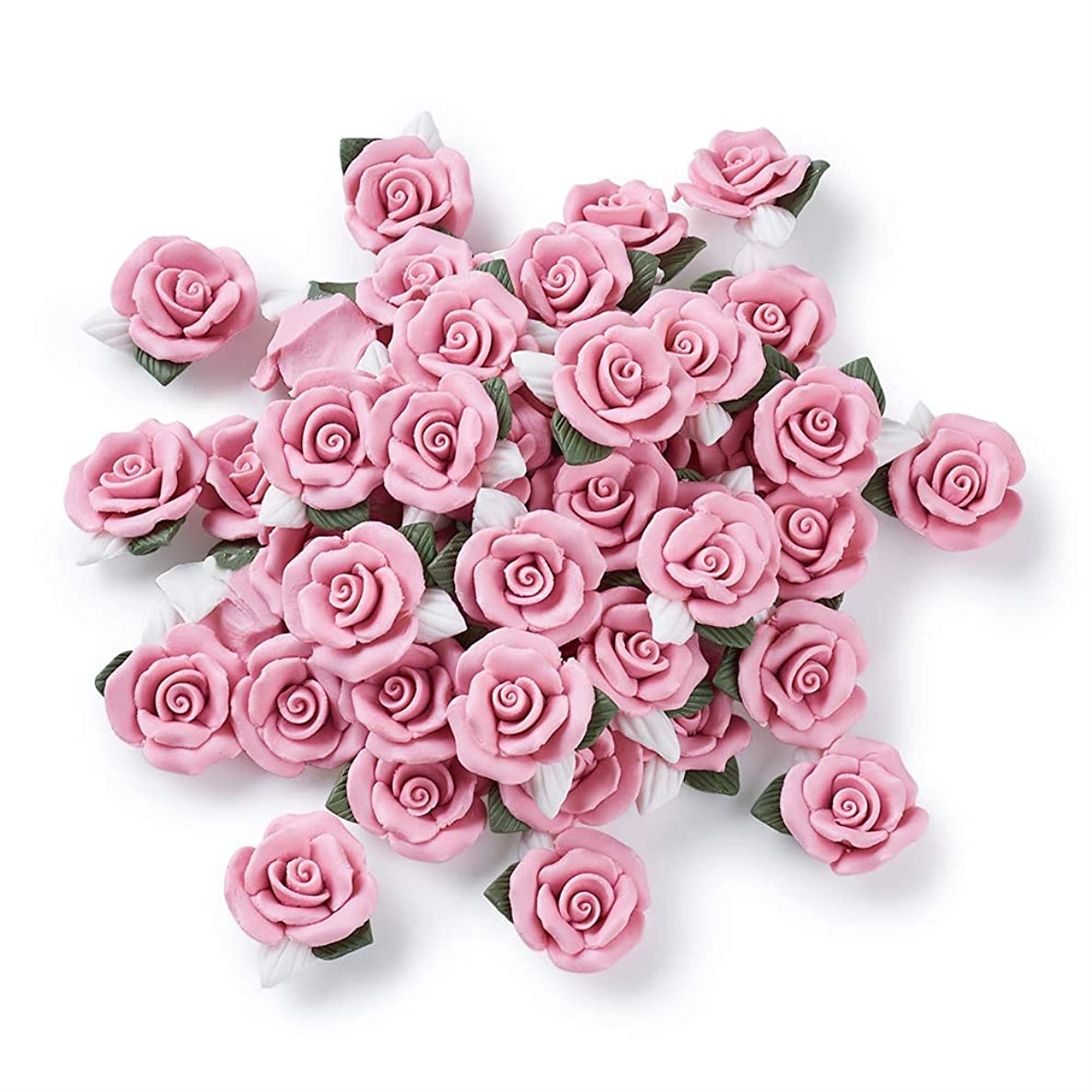 Beadthoven 50-Piece Flat BackPink Rose Handmade Porcelain Cabochons Flower Charms China Clay Beads Charms Jewelry Embellishment Supplies for Gluing DIY Jewelry Making Finding Supplies Stud Earring