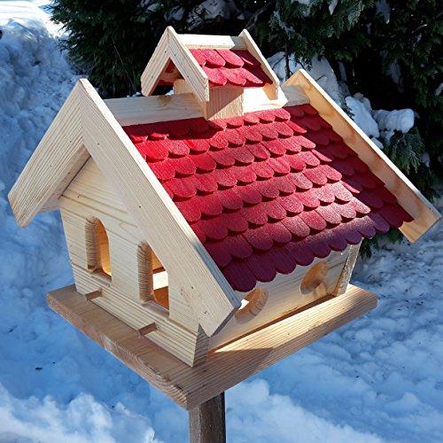 Vogelhaus-XXL mit Holzschindeln und Putzklappe lasiert Vogelhäuser-Vogelfutterhaus großes Vogelhäuschen-aus Holz Wetterschutz (Rot) - 6