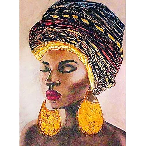 Pintura de diamante 5D Arte de mujer africana americana con pendientes de oro Taladro completo Cuentas cuadradas Kits de pintura de diamante para adultos Cristal Gemas Arte de pared 40x50cm