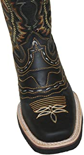 Men Cowboy Genuine Cowhide Leather Square Toe Rodeo Western Boots