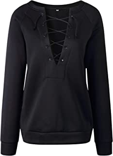 Arctic Cubic Long Sleeve Deep V Neck Strappy Lace Up Front Eyelet Sweatshirt T-Shirt Tee Top