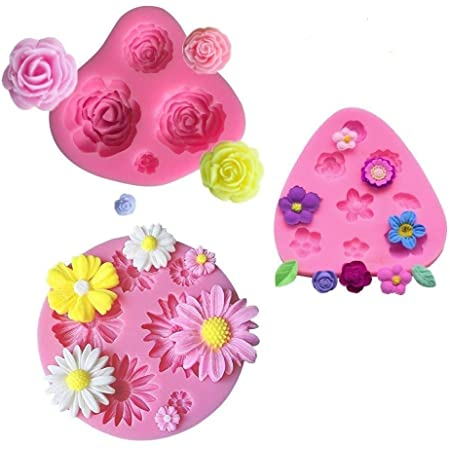 mciskin Fleur gâteau Fondant Moules, Moules en silicone, Mini Fleur roses Fleur de marguerite Moules pour Jelly Sucre Candy Chocolat Fondant Décoration de gâteaux (lot de 3)