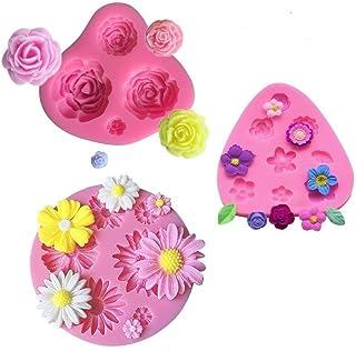 mciskin Moldes de fondant de pastel de flores,mini Moldes de Silicona de Flores,Molde de flores rosas,Moldes de flores,Decoración de pastel de chocolate fondant(3 piezas)