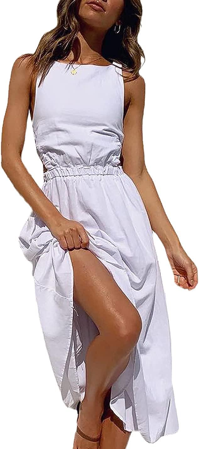 Huaxiafan Summer Dresses, Women's Maxi Dress-Backless Sleeveless Casual A-Line Boho Dress