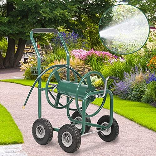 Garden Hose Reel Cart with Wheels Reel Cart Tools Outdoor Yard Water Planting Truck Heavy Duty Water Planting (Green)