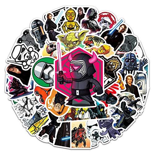WYZNB 50 pegatinas de estrellas de anime Wars para cuadernos de coche, scooter, decoración impermeable, vinilo de dibujos animados graffiti