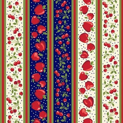 Tecido Tricoline 100% Algodão - Maçãs e cerejas - Faixas p/barrado - 50x150 cm