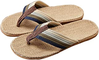 Men's Flax Flip Flops Casual Comfort Braided Thong Sandals Summer Light Weight Slippers Indoor Outdoor Slip On Shoes