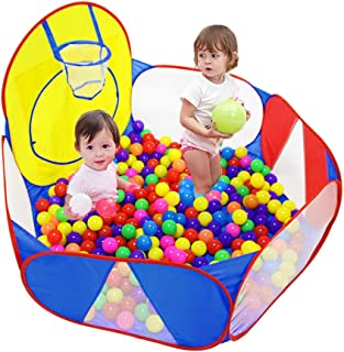 Eocolz Kids Ball Pit Large Pop Up Childrens Ball Pits Tent for Toddlers Playhouse Baby Crawl Playpen with Basketball Hoop and Zipper Storage Bag, 4 Ft/120CM, Balls Not Included