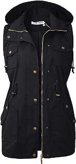 BBX Lephsnt Womens Utility Vest Drawstring Waist Military Sleeveless Jacket