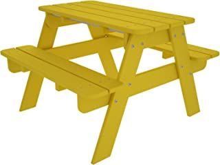 POLYWOOD Outdoor Furniture Kid Picnic Table, Lemon-Recycled Plastic Materials
