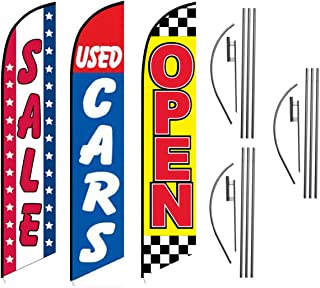Sale Used Cars Open Checkered Advertising Feather Flag Kits Package, Includes 3 Banner Flags, 3 Flag Poles, and 3 Ground Stakes by Feather Flag Nation