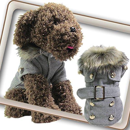 Chinatera Winter Warm Haustier Luxus Jacke Overall Hosen Hund Kleidung (Grau, M) - 2