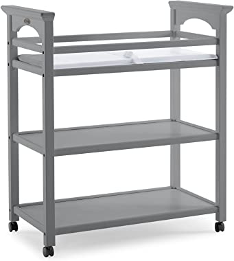 Graco Lauren Changing Table with Water-Resistant Change Pad and Safety Strap, Pebble Gray, Multi Open Storage Nursery Changin