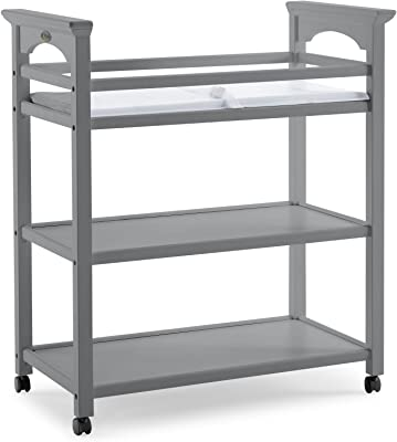 Graco Lauren Changing Table with Water-Resistant Change Pad and Safety Strap, Pebble Gray, Multi Open Storage Nursery Changing Table for Infants or Babies