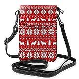 Norwich Terrier Siluetas de Navidad con patrón de suéter pequeño Crossbody Bolso Crossbody para teléfono celular – Bolso de mano de piel sintética para mujer con correa ajustable para la vida diaria