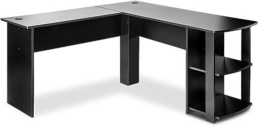 ZOEON Schreibtisch – L-förmiger Computertisch – Eckschreibtisch mit 2 Ablagen – PC-Tisch – Bürotisch Modern 140x140x75 cm (Schwarz)