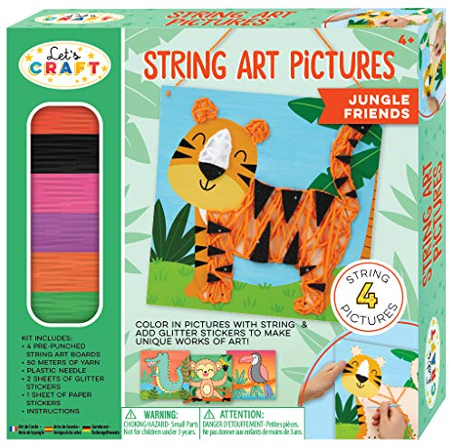 Bright Stripes String Art Pictures Jungle Friends String Art Kit for Children - Kids Lacing Art Kit with 4 Lacing Boards - Fun Kids Activity Includes Yarn, 4 Pictures, and Stickers
