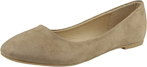 Anna Shoes Women's Sueded Closed Toe Ballet Flat