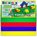 Brickyard Building Blocks Large 10 x 20 inches Compatible Baseplates for Large Building Blocks, Assorted Colors Plastic Base Plate, Compatible with Duplo Blocks, for Displaying Toys (4-Pack)
