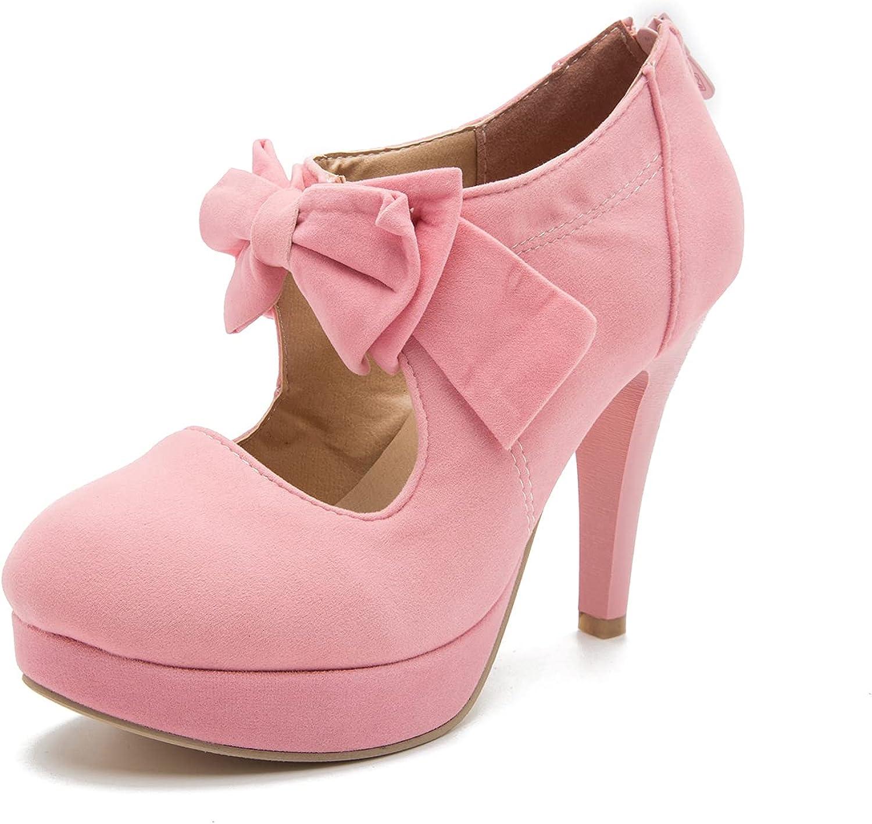 Women's Vintage Bowtie Pumps Platform Dress Shoes High Philadelphia Mall Heel safety