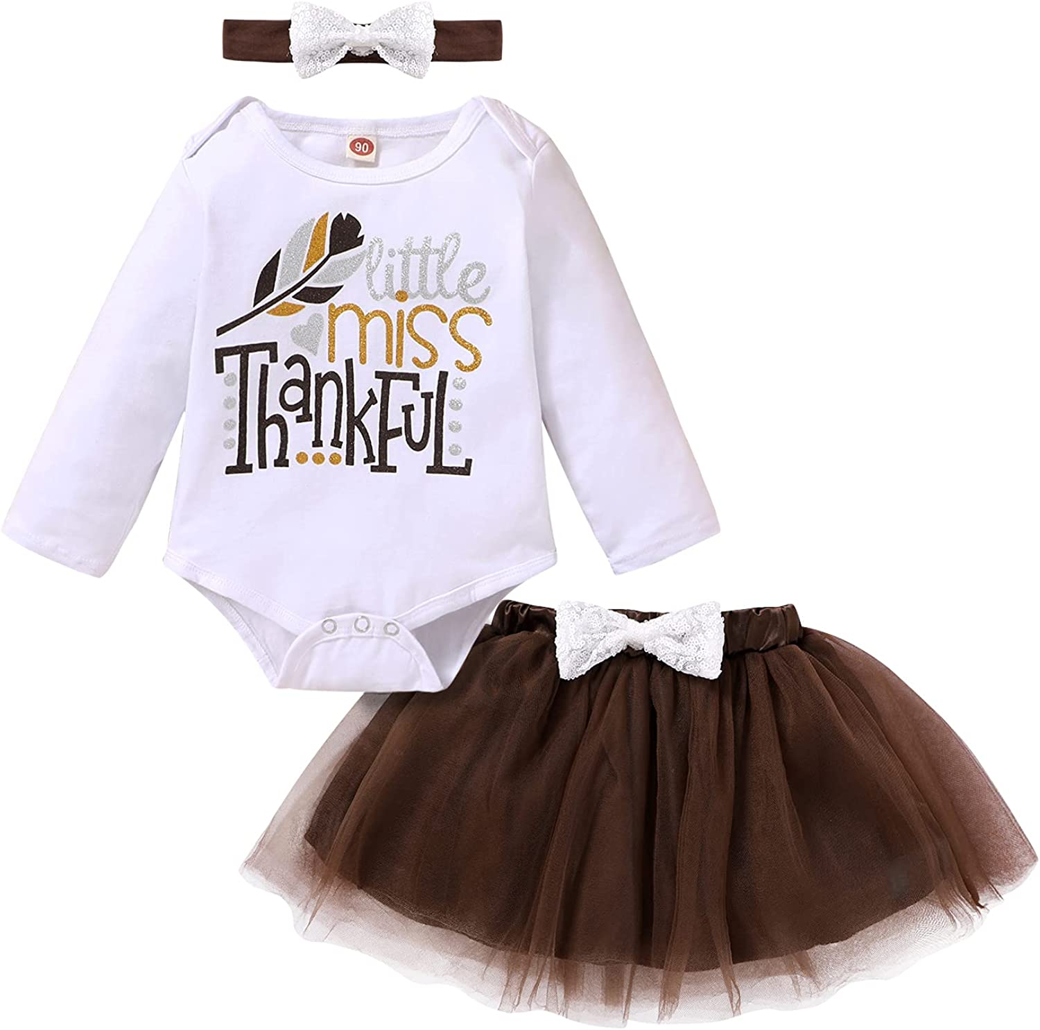 Newborn Baby Girls Thanksgiving Outfits Letter Romper Top Tutu Skirt Dress Clothes Set with Bow Headband 3Pcs
