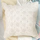 YINFUNG Crochet Pillow Covers Macrame 18x18 Boho Textured Ivory Throw Pillow Cover Woven Handmade Cushion Cover Knit Knot Floral Cream Beige Sofa Accent Pillow Cases Set of 2