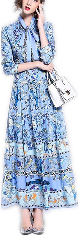 MUMUWU Ladies Fashion Versatile Positioning Print Floating Dress Maxi Dress