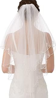 2T Short Sequin Pearl Edge Crystals Beaded Bling Wedding Bridal Veil