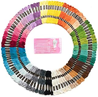 Mira Handcrafts 105 Embroidery Thread Skeins - Friendship Bracelet String – Perfect Embroidery Floss Kit for Beginners – Set of 10 Gold Eye Needles and 1 Threader Included – DMC Color Card Included