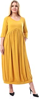 Kady Elbow Sleeves Solid Dress For Women With Hem