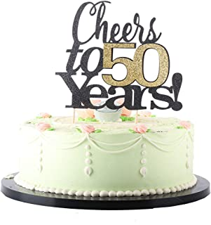 LVEUD Black Font Golden Numbers Cheers to 50 Years Happy Birthday Cake Topper -Wedding,Anniversary,Birthday Party Decorations (50th)