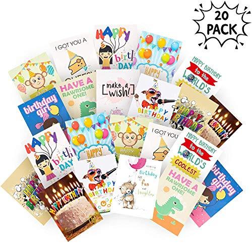 20 Geburtstagskarten mit Umschlägen| Große Auswahl an Hochwertigen Leeren Grußkarten| Helle Farben, Cooles & Lustiges Design| Glückwunschkarten für Kinder Erwachsene| Nie Wieder Karten Aus!