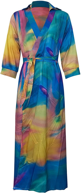 Lovor Women Print Tie Dye Loose Deep V Neck Long Sleeve Maxi Dress Lapel High Waist Work Midi Dresses with Belt