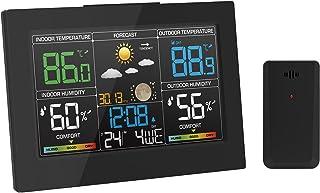 Geevon Väderstationer trådlös med utomhussensor, inomhus utomhus termometer färgdisplay, digital predisponering med temper...